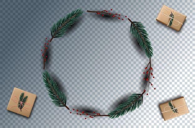 Christmas decoration  with festive objects. isolated on transparent