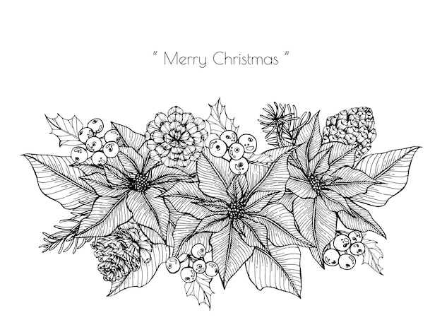 Christmas decoration with flower and leaf hand drawn illustration.