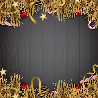 Christmas decoration with golden elements