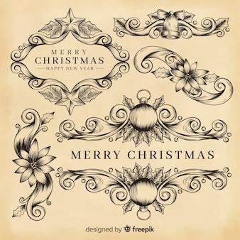 Decorazioni natalizie con bordi ornamentali
