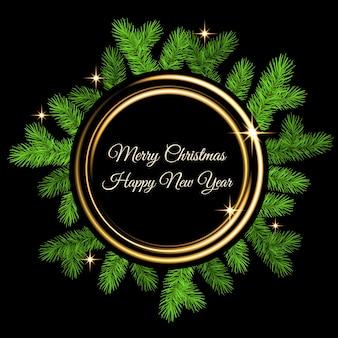 가문비나무 가지, 황금색 플래시, 금색 네온 원이 검정색 배경에 있는 크리스마스 장식입니다. 녹색 전나무 화환입니다. 크리스마스 카드, 배너, 전단지, 새해 파티 포스터를 위한 벡터 템플릿입니다.