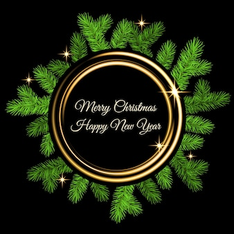 Christmas decoration  with spruce branch, golden flash and gold neon circle on black  background. green fir wreath. vector template  for xmas cards, banners, flyers, new year party posters.