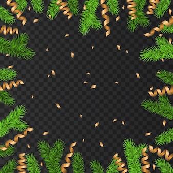 Новогоднее украшение с еловой веткой, золотым серпантином и конфетти на прозрачном фоне. зеленая ель. векторная рамка для рождественских открыток, баннеров, новогодних плакатов.