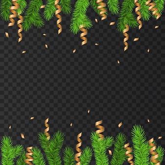 Новогоднее украшение с еловой веткой, золотой серпантин и конфетти на прозрачном фоне