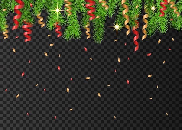 가문비나무 가지, 빨간색과 황금색 뱀, 투명한 배경에 불꽃이 있는 크리스마스 장식. 녹색 전나무. 크리스마스 카드, 배너, 신년 파티 포스터를 위한 벡터 템플릿입니다.