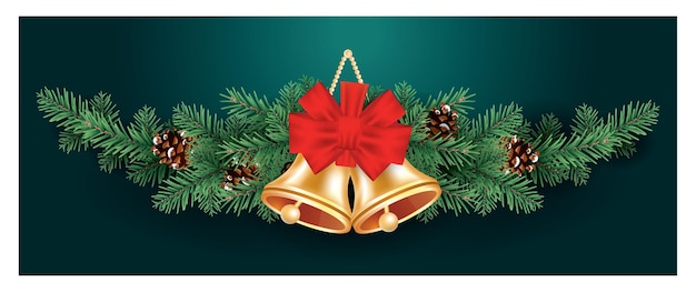 Christmas decoration with two golden bells and red bow on fir tree branches with cones.