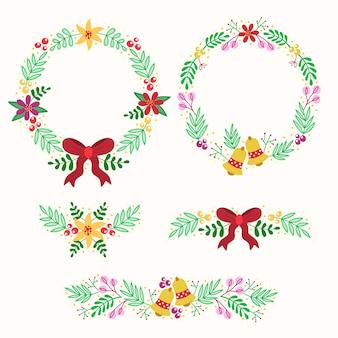 Decorazioni natalizie con design piatto ghirlanda