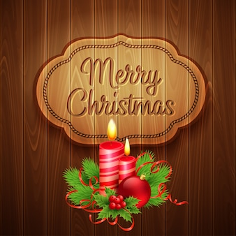 Christmas decoration on the wooden background.