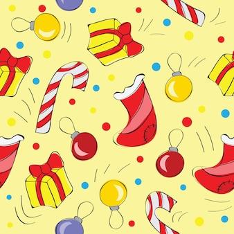 クリスマスの装飾、ボールとプレゼント、シームレスなパターン-ベクトル