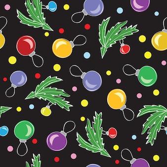Christmas decorations, balls, seamless pattern - vector