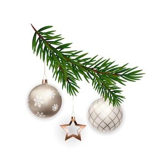 クリスマスの飾り。ボールとモミの木の枝。
