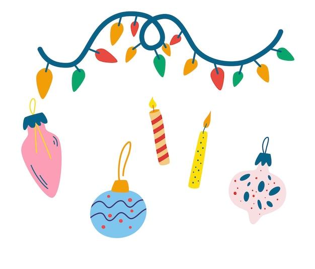 クリスマスの飾り。ガーランド、カラフルなライト、風船、キャンドル。休日や自宅での装飾。白い背景で隔離のベクトルイラスト。