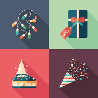 Christmas decorations and gifts flat square icons set.