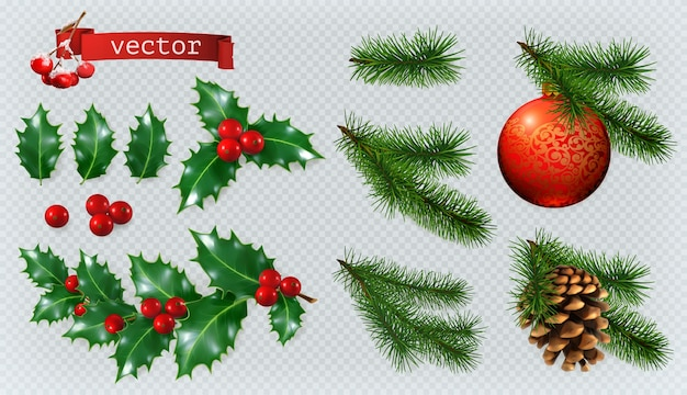 Christmas decorations. holly, spruce, red berries, christmas bauble, conifer cone.