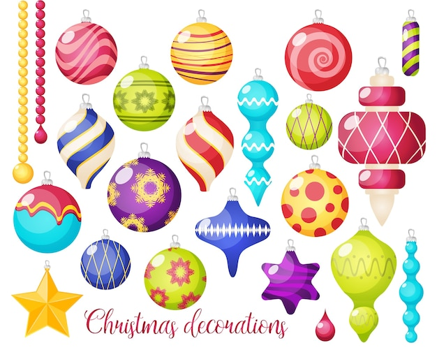 Christmas decorations icon set