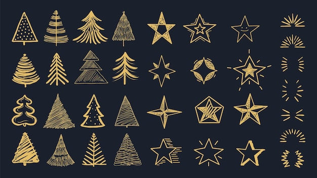 Christmas decorations pack. doodle xmas tree, stars and burst. decorative holiday new year vector cards, invitation. decoration doodle scribble cartoon, drawn sketch christmas texture illustration
