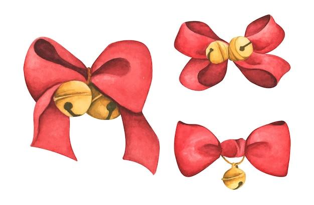 크리스마스 장식 빨간 리본과 종 수채화 그림
