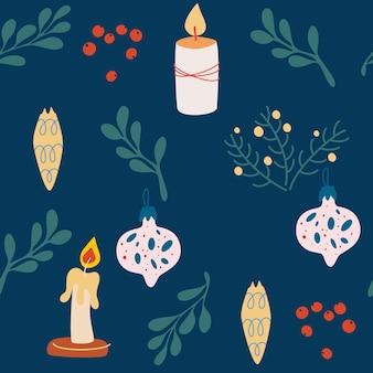 クリスマスの装飾のシームレスなパターン。キャンドル、クリスマスツリーのおもちゃや小枝。メリークリスマス、グリーティングカード、包装紙の新年あけましておめでとうございますの背景。ベクトルイラスト。