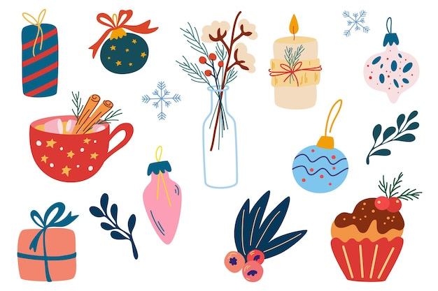 Christmas decorations set. holiday gifts, christmas balls, pancakes, hot drink with marshmallows, candles, flowers and twigs. happy winter holiday. hand drawn vector flat cartoon illustration.