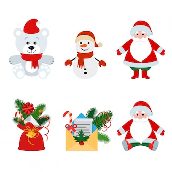 Christmas decorations and toys flat illustration set