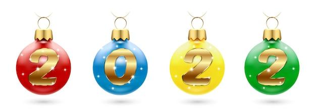 Елочные игрушки с числами 2022 шара с новым годом и рождеством