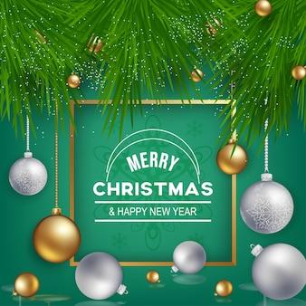 緑の背景に装飾品でクリスマスの装飾