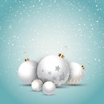 흰 공 크리스마스 장식 배경