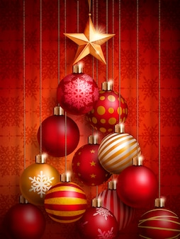Christmas decorative baubles placed in a tree shape