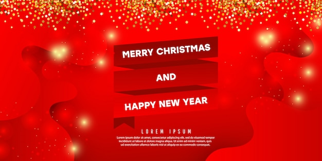 Christmas decorative composition with color liquid wave shape with shadows on a red background