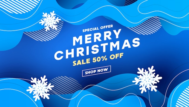 Christmas decorative composition with with liquid wave shape with shadows on a blue background with text for banner