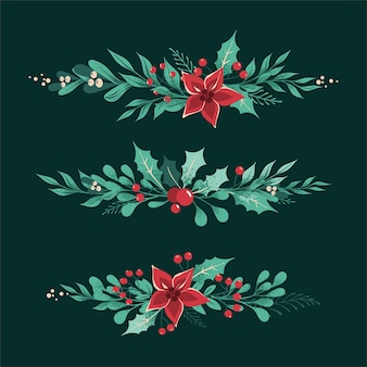 Christmas decorative dividers and borders with leaves, berries,  holly, white mistletoe, poinsettia.