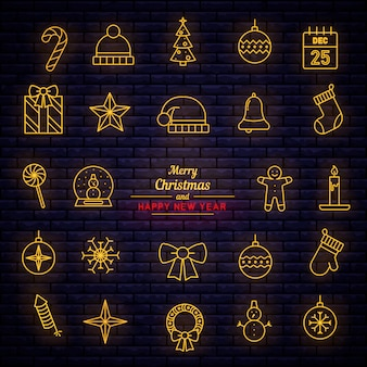 Christmas decorative elements neon style