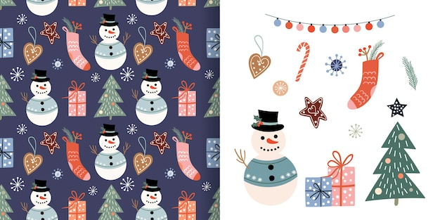 Christmas decorative set with seamless pattern and christmas elements