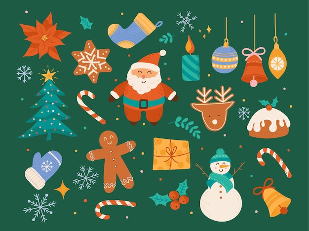 Christmas decorative vector collection, cute winter holiday ornaments, christmas tree scrapbook elements, santa claus, cookies, baubles, snowman, bell, candle illustration in flat cartoon style