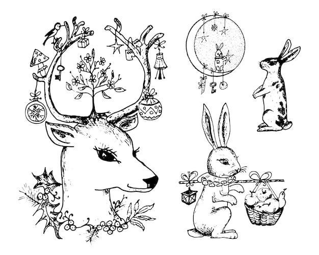 크리스마스 사슴 그리고 뿔에 꽃과 동물. 숲에서 새 해 토끼와 토끼 또는 토끼.