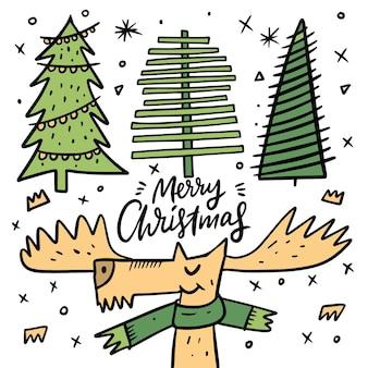 クリスマスの鹿カード。カラフルな落書きは白い背景で隔離。