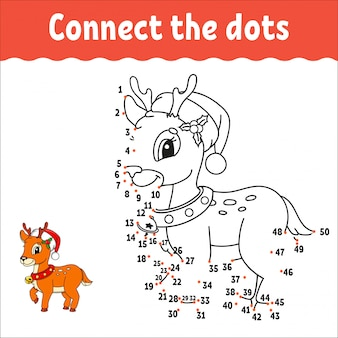 Christmas deer. dot to dot game. draw a line. handwriting practice. learning numbers for kids.