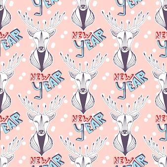 새 해 포장지에 대 한 크리스마스 사슴입니다. 원활한 벡터 패턴입니다.