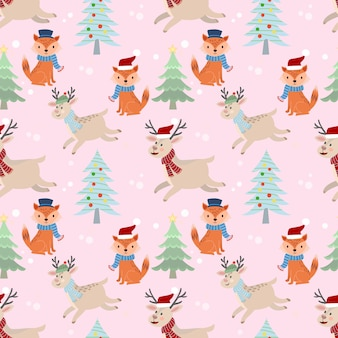 Christmas deer and fox seamless pattern.