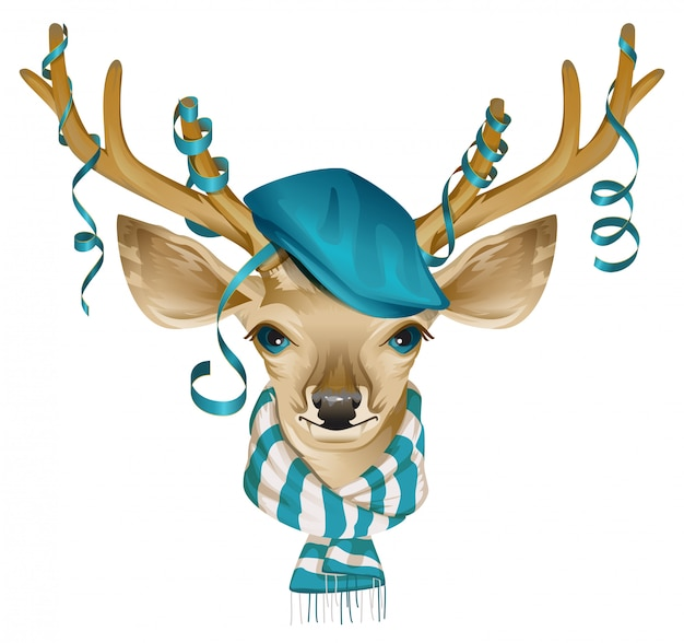 Christmas deer head in blue fashionable hat and striped scarf