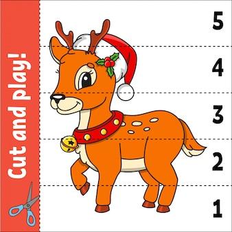 Christmas deer. learning numbers. education developing worksheet.