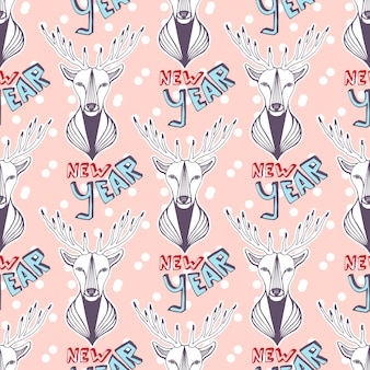 Christmas deer for new year wrapping paper. vector seamless pattern.