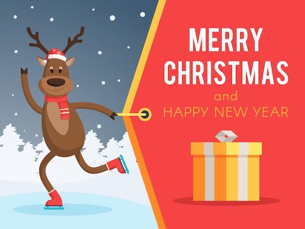 スケートバナーのクリスマス鹿