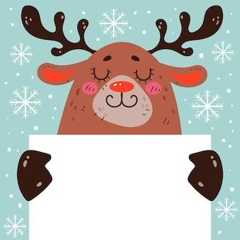 Christmas deer reindeer bunny holding blank banner concept