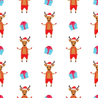 Christmas deer in shorts and santa's hat. new year's seamless pattern.