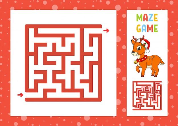 Рождественский олень квадратный лабиринт игра для детей. пазл для детей. загадка лабиринта.