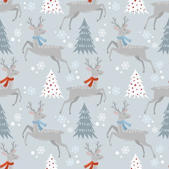 Christmas deer and tree in winter pattern.