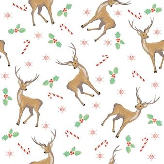 Christmas deer vector seamless pattern. reindeer vector head with horn and santa hat