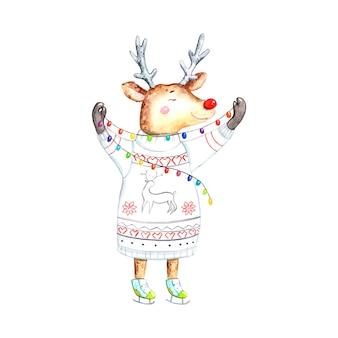 Christmas deer watercolor