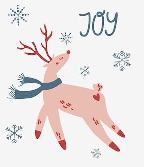 Рождественский олень с шарфом. надпись. шаблон рождественской открытки для рождественского дизайна. символ зимнего праздника. вектор рука рисовать иллюстрации шаржа.
